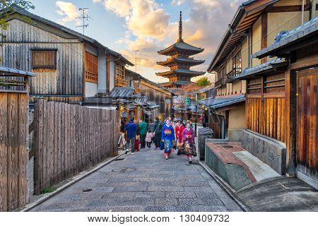 Yasaka Pagoda With Kyoto Ancient Street In Japan