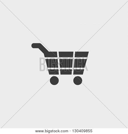 Shopping cart icon in a flat design in black color. Vector illustration eps10