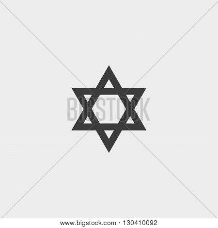 Star of David icon in a flat design in black color. Vector illustration eps10