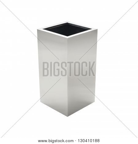 Empty flower pot made from iron, isolated on white background.