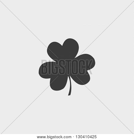 Clover icon in a flat design in black color. Vector illustration eps10
