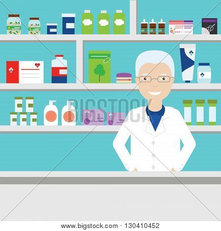 Pharmacist in pharmacy vector illustration. Aged male pharmacist in glasses on background of shelves with medical objects pills etc. Pharmacist in medical store