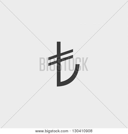 Turkish lira icon in a flat design in black color. Vector illustration eps10