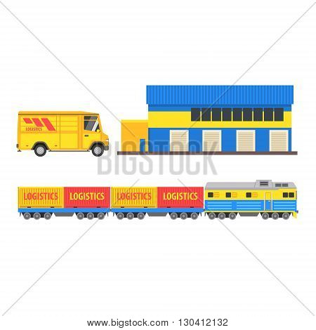 Warehouse, Cargo Train And Bus Vector Design Primitive Graphic Illustration On White Background