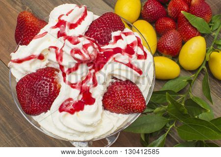 ice cream and strawberries, strawberries and cream