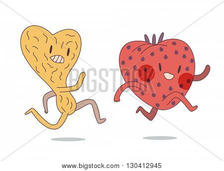 Cartoon vector illustration of two flat running characters