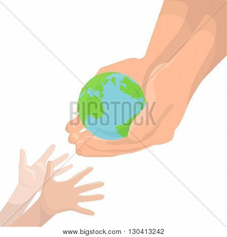 Vector illustration of an adult hand transmitting the planet Earth in children's hands. Protect Earth. Ecology