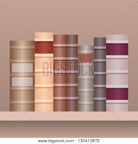 Vector illustration of shelf with old books.Realistic books in row separately from the background