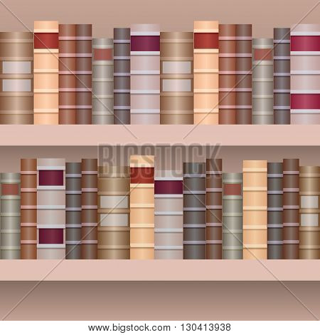 Seamless border of shelf with old books.Realistic books in row separately from the background