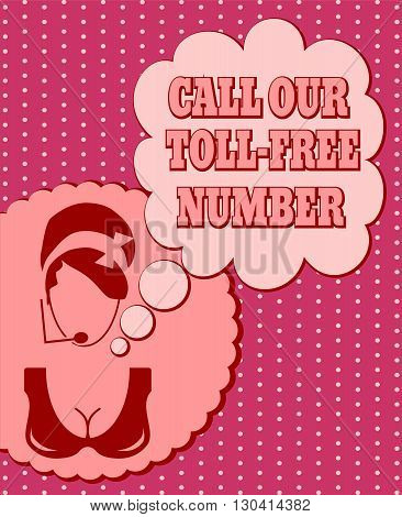Chat or customer service operator. Call our toll free number text in bubble speech. Retro style