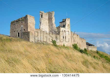 RAKVERE, ESTONIA - AUGUST 01, 2015: The ruins of the castle of the Livonian order august afternoon in Rakvere. Historical landmark of the Rakvere. Estonia