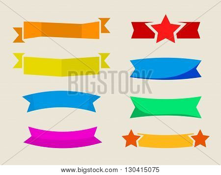 vector set of flat ribbons stickers without label