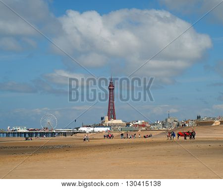 Blackpool tower and Central Pier with donkeys