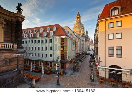 DRESDEN, GERMANY - MAY 12, 2016: One of the central streets in the old town of Dresden, Germany on May 12, 2016.