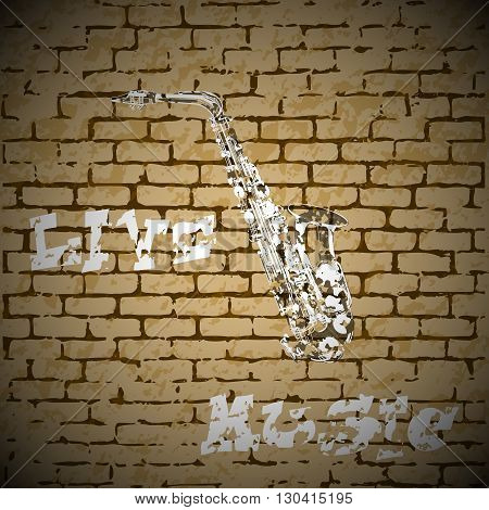Stock Vector Live Music graffiti painted saxophone on a brick background. There is room to place text or an image.