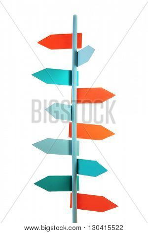 Direction signpost isolated on white