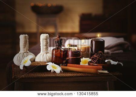 Spa massage setting, close up