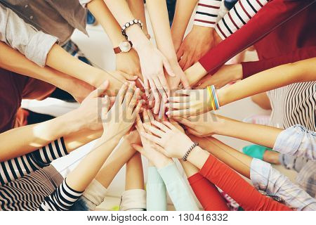 Business people hands, top view. Teamwork concept.