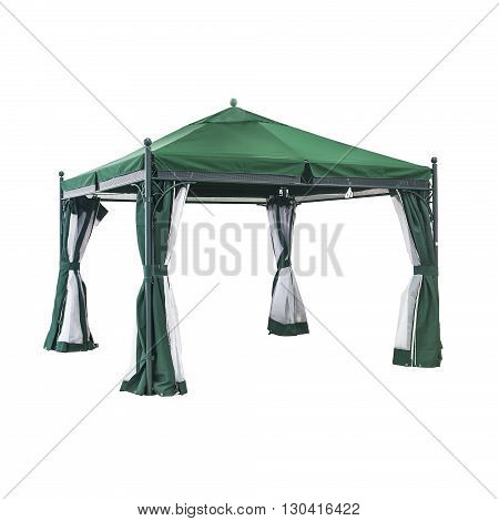Green luxury garden tent isolated on a white
