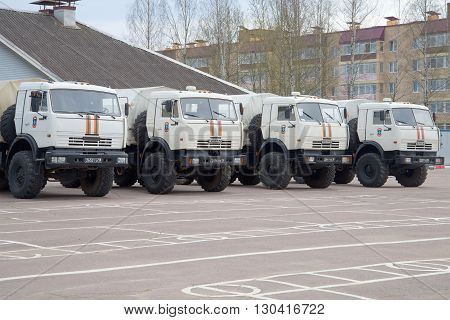 LENINGRAD REGION, RUSSIA - MAY 05, 2015: KAMAZ-43114 rescue center EMERCOM of Russia in the parking lot