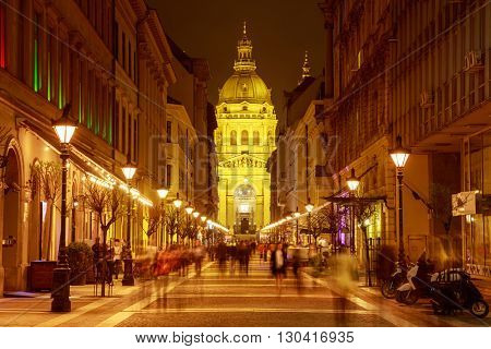 St. Stephen's Basilica night view, Budapest Hungary.