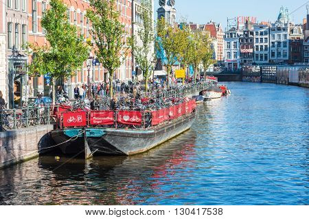 Bicycle Parking On An Old Tour Boat In Amsterdam