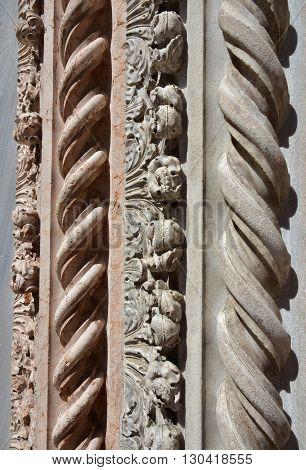 Detail of Santa Maria Gloriosa dei Frari basilica gothic portal in Venice