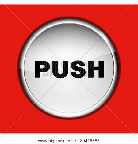 round button PUSH on the red background