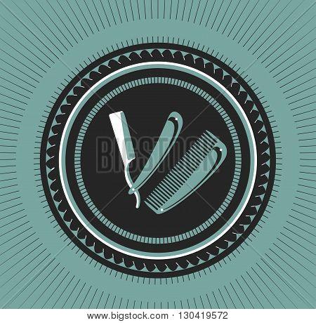 vector emblem retro stylized logo barbershop comb and razor