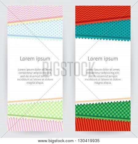 Set of decorative backgrounds in light and rich tones with colorful patterned patches