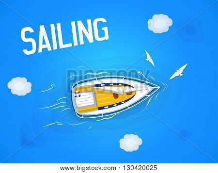 Sailing. Yacht in the sea. Top view through the clouds on a white yacht sailing floating on the waves of the sea. Vector illustration