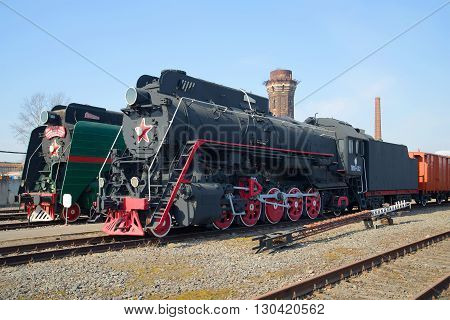 SAINT PETERSBURG, RUSSIA - MARCH 30, 2016: View the freight passenger locomotive LV 18 on the October railway. Tourist  landmark of the Saint Petersburg