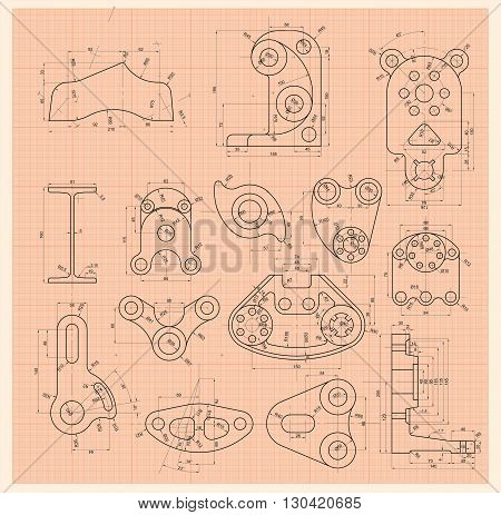 Set of schematic drawing any mechanism parts