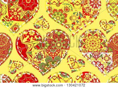 Seamless pattern with collection colorful red green hearts in vintage patchwork style on yellow background.