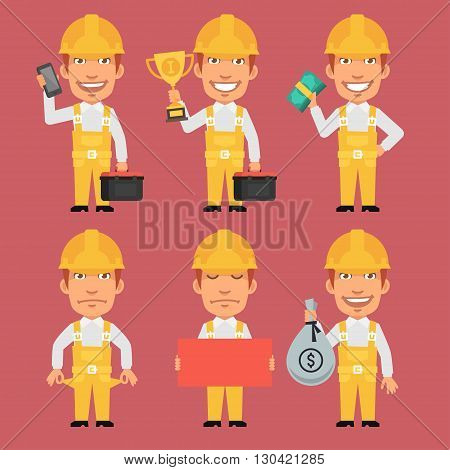 Vector Illustration, Builder Holds Cup Money Tools Phone Poster, format EPS 8