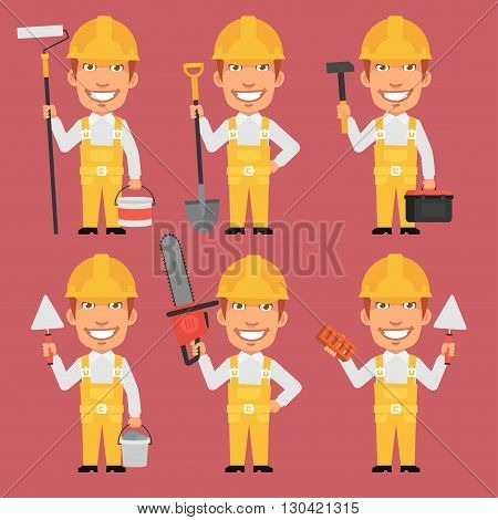 Vector Illustration, Builder Holds Different Tools, format EPS 8