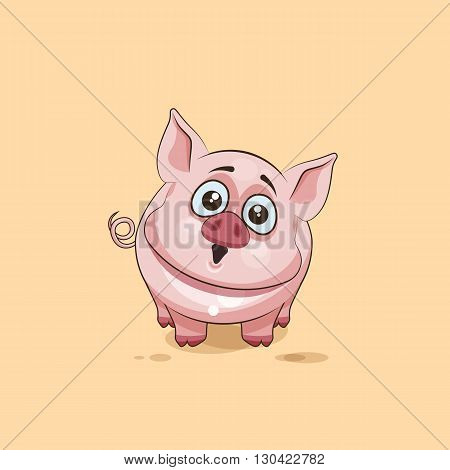 Vector Stock Illustration isolated Emoji character cartoon Pig surprised with big eyes sticker emoticon for site, infographics, video, animation, websites, e-mails, newsletters, reports, comics