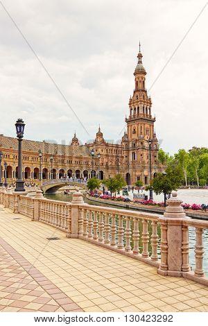 Famous pavilion at Plaza de Espana, Seville