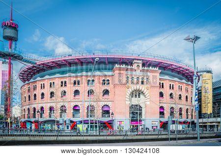 BARCELONA SPAIN - FEV 10 2016: Facade of Arena shopping mall former bullring of Las Arenas in Barcelona Spain.