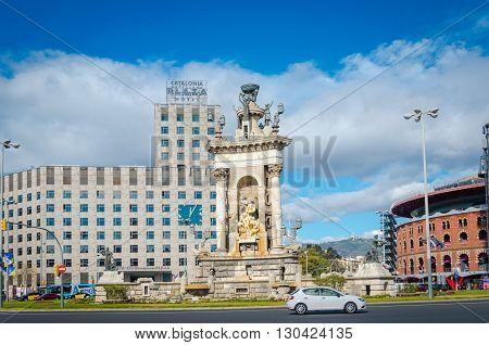 BARCELONA SPAIN - FEV 10 2016: Plaza of Spain in Barcelona a major transport hub.