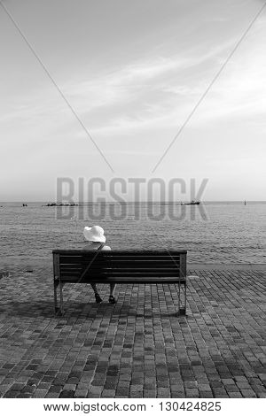 Lone lady sat on a wooden bench looking out to sea shot in monochrome