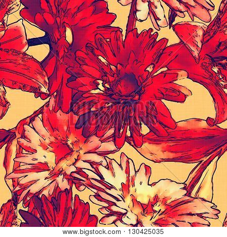 art monochrome watercolor vintage floral seamless pattern with red gerbera on light orange background