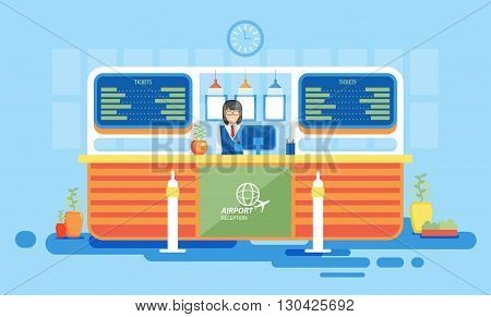 Stock vector illustration interior airport, reception at airport, information desk at airport, getting ticket at airport, reception desk at airport in flat style element info graphic, website, games