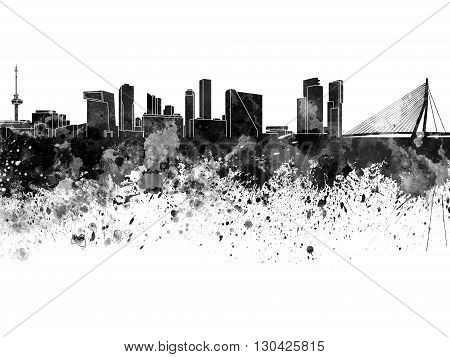 Rotterdam skyline in watercolor on white background