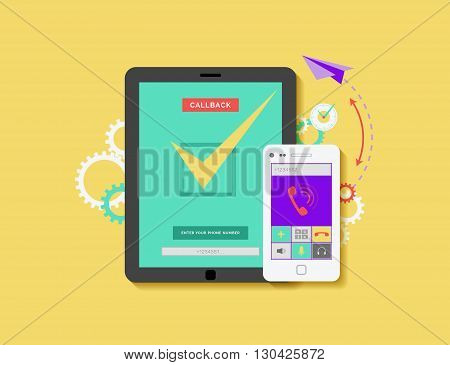 Stock vector illustration of mobile phone and tablet with application for ordering call back in flat style element for info graphic, website, games, motion design