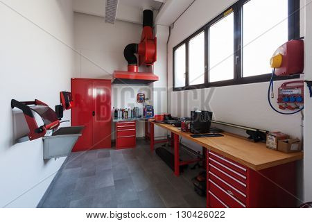 Modern mechanical workshop interior, nobody inside