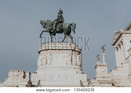 Victor Emmanuel monument in Il Vittoriano in Rome, Italy.