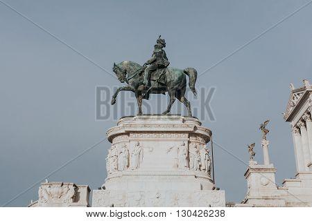 Victor Emmanuel monument in Il Vittoriano in Rome, Italy.