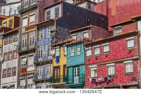 Colorful Houses With Tiles Facades In Porto