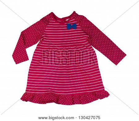 Red striped baby dress. Isolate on white.